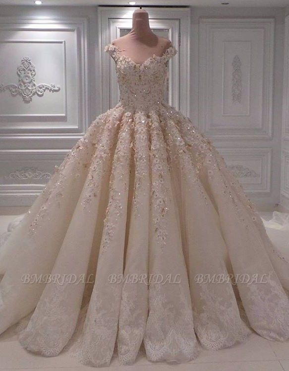 Elegant Chamgne Off-the-shoulder A-line Wedding Dresses Sequins Lace Bridal Gowns With Appliques Online