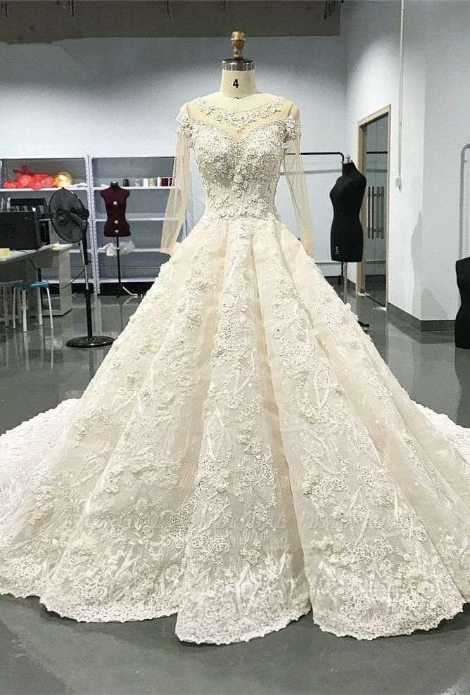 Elegant Jewel Longsleeves White Wedding Dresses With Appliques A-line Ruffles Lace Bridal Gowns On Sale