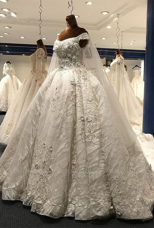 Glamorous A-line White Ruffles Wedding Dresses With Appliques Off-the-shoulder Lace Bridal Gowns On Sale