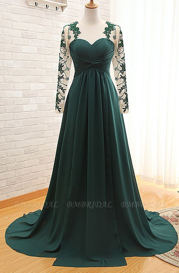 BMbridal Elegant Long Sleeve Green Evening Gowns Chiffon Lace Prom Dresses