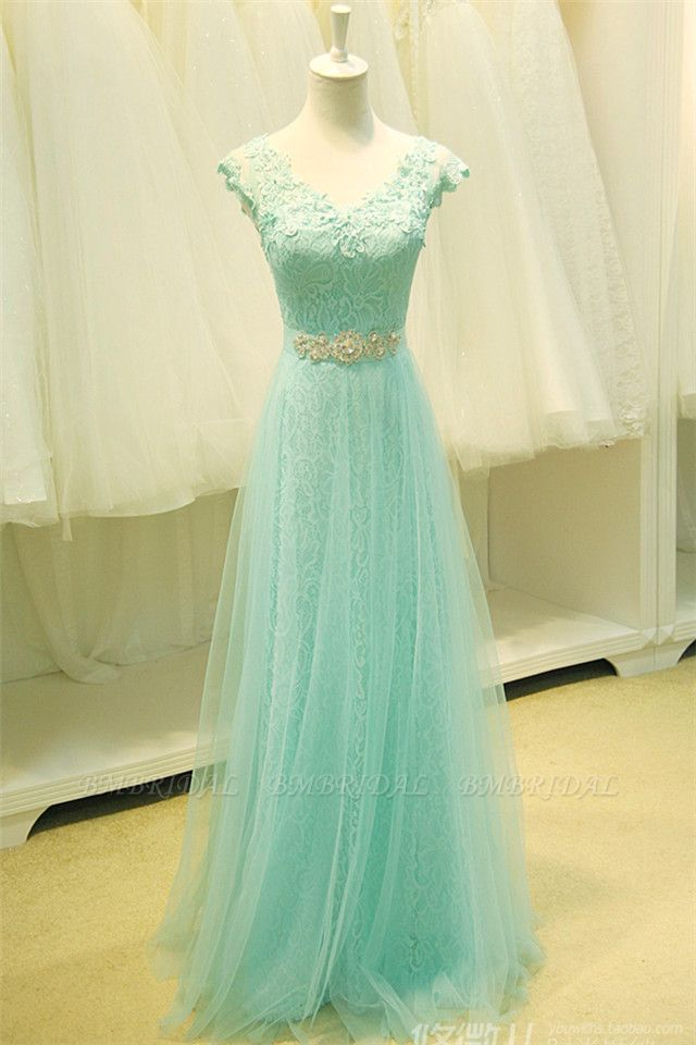 Chic Mint Lace Prom Dress V-Neck Tulle Long Evening Gowns