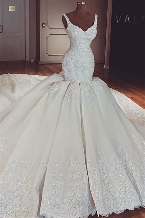 BMbridal Chic Straps Mermaid Lace Wedding Dresses V-neck Sleeveless Bridal Gowns With Appliques Online