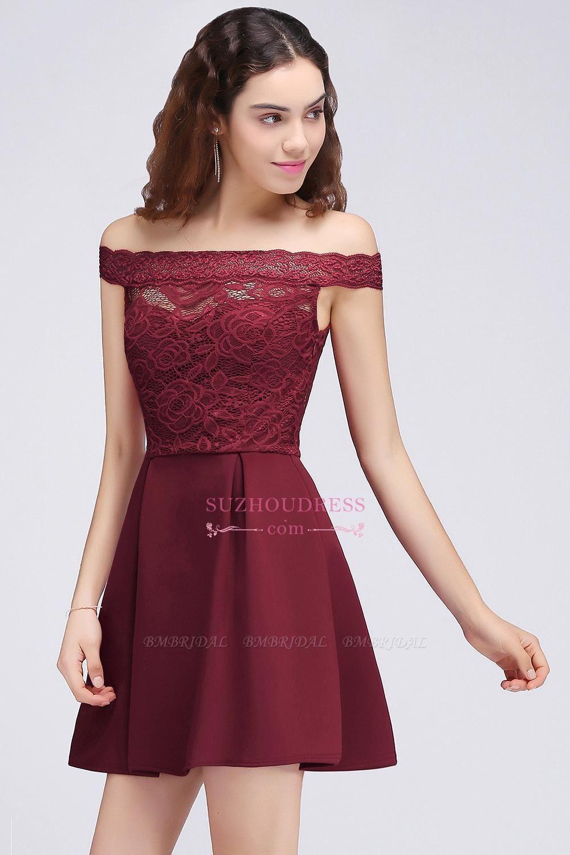 BMbridal A-Line Off-the-shoulder Short Lace Burgundy Homecoming Dress