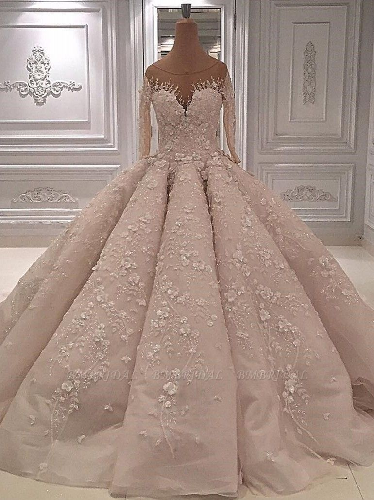 Chic Jewel Longsleeves A-line Wedding Dresses With Appliques Ivory Tulle Ruffles Bridal Gowns On Sale
