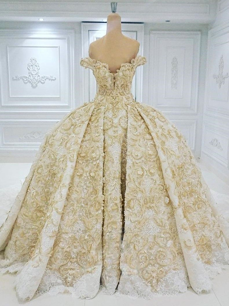 BMbridal Affordable Off-the-shoulder Chamgne Lace Wedding Dresses With Appliques A-line Ruffles Ball Gowns On Sale