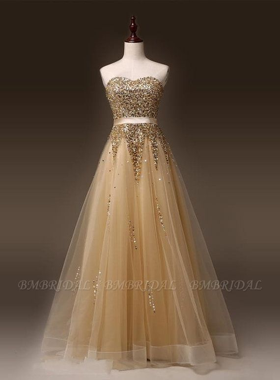 BMbridal Gold Sweetheart Sequins Prom Dress Long Tulle Evening Gowns