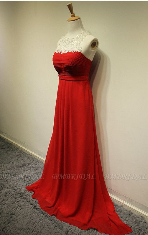 Elegant Red Lace Chiffon Prom Dress Long Sleeveless Evening Gowns Online