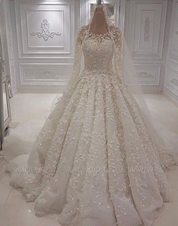 BMbridal Chic  A-line Jewel Longsleeves Wedding Dresses With Appliques Ivory Tulle Ruffles Bridal Gowns On Sale
