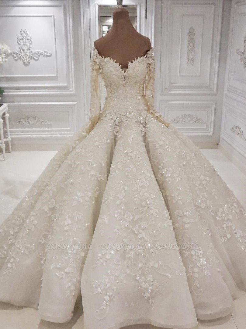 BMbridal Gorgeous Longsleeves White Lace Wedding Dresses A-line Tulle Bridal Gowns With Appliques Online