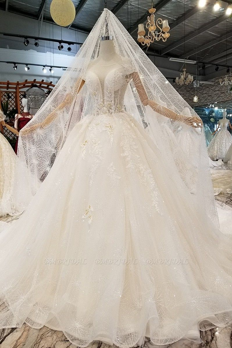 BMbridal Affordable Off-the-shoulder Jewel Lace Wedding Dresses With Appliques White A-line Ruffles Bridal Gowns On Sale