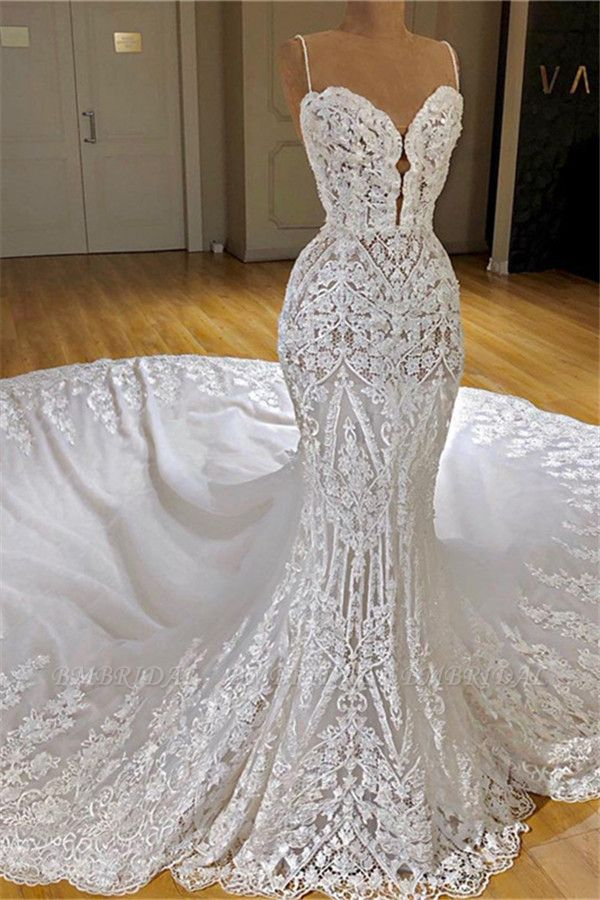 BMbridal Glamorous Mermaid White Lace Wedding Dresses With Appliques Spaghetti Straps  Bridal Gowns Online