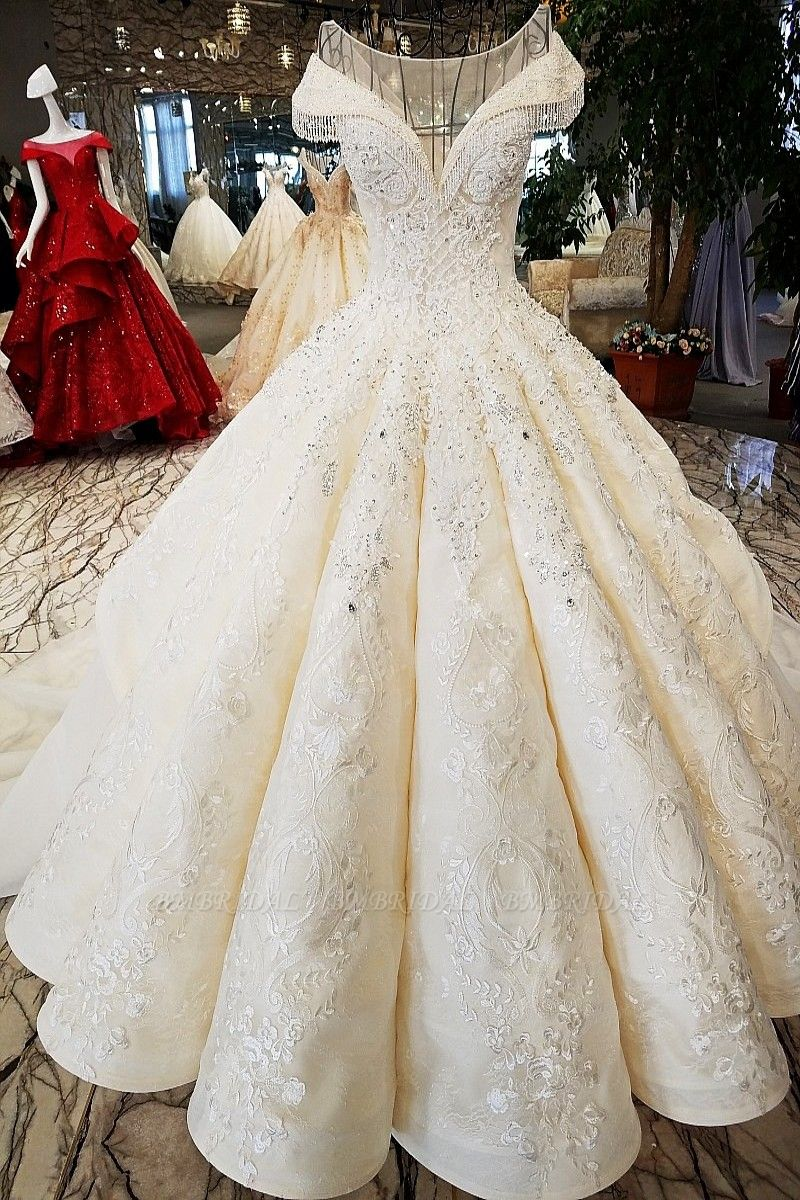 BMbridal Affordable Jewel Off-the-shoulder A-line Wedding Dresses With Appliques Ivory Ruffles Lace Bridal Gowns On Sale