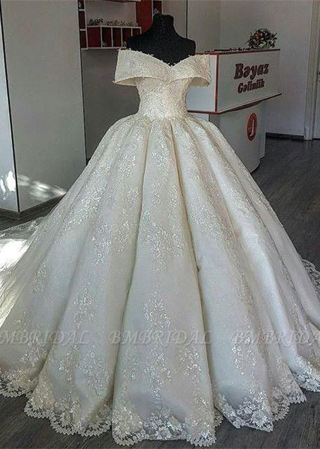BMbridal Unique Off-the-shoulder A-line Lace Wedding Dresses Satin Ruffles Bridal Gowns With Appliques Online