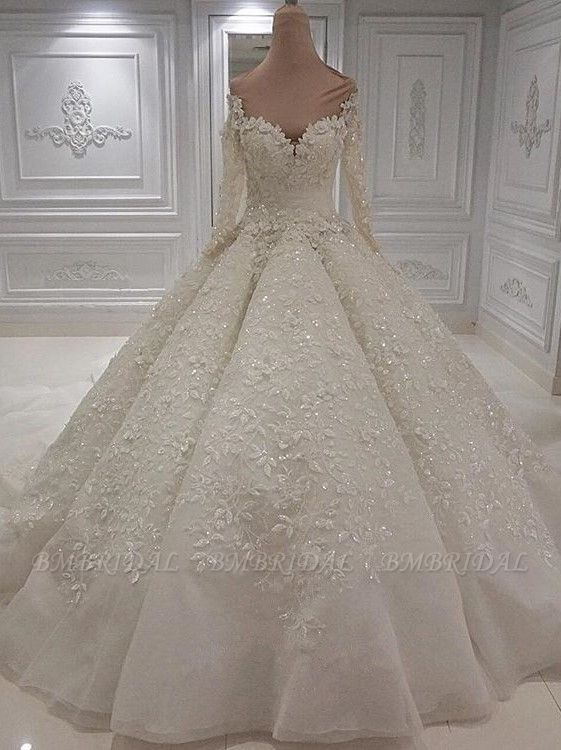 BMbridal Modest Longsleeves White A-line Wedding Dresses Tulle Ruffles Bridal Gowns With Appliques Online