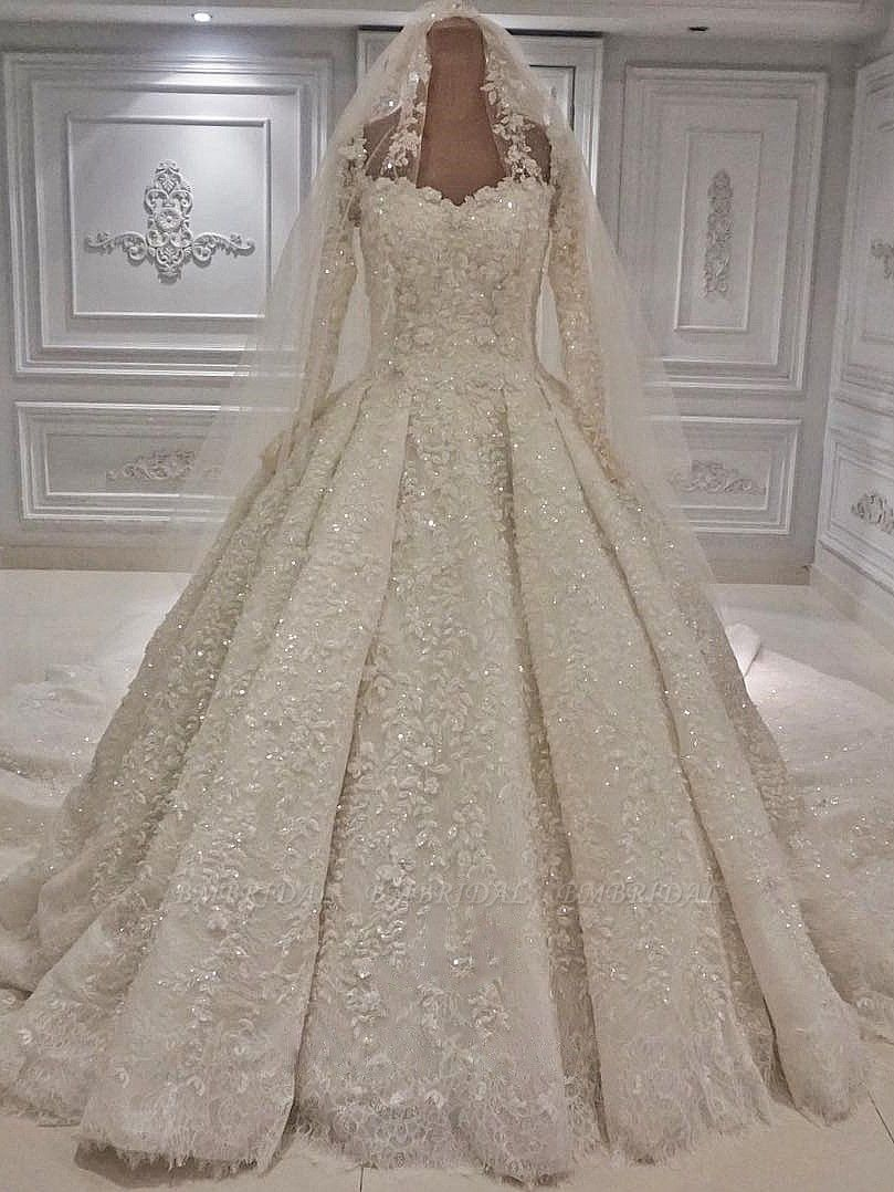 BMbridal Unique A-line Ruffles Lace Wedding Dresses With Appliques Longsleeves Ivory Bridal Gowns On Sale