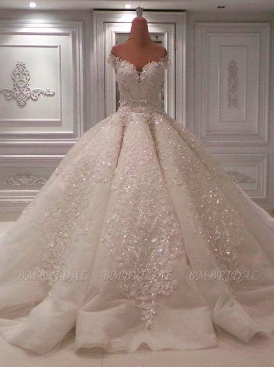 BMbridal Glamorous Off-the-shoulder White A-line Wedding Dresses Tulle Ruffles Lace Bridal Gowns With Appliques Online