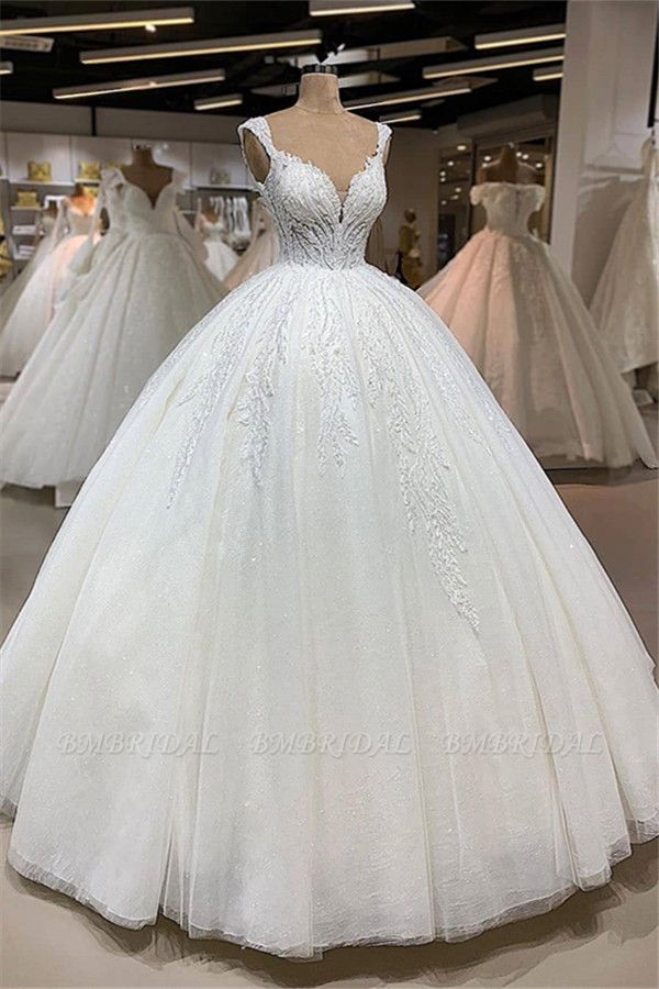 BMbridal Affordable Straps A-line White Wedding Dresses With Appliques Tulle Ruffles Bridal Gowns Online