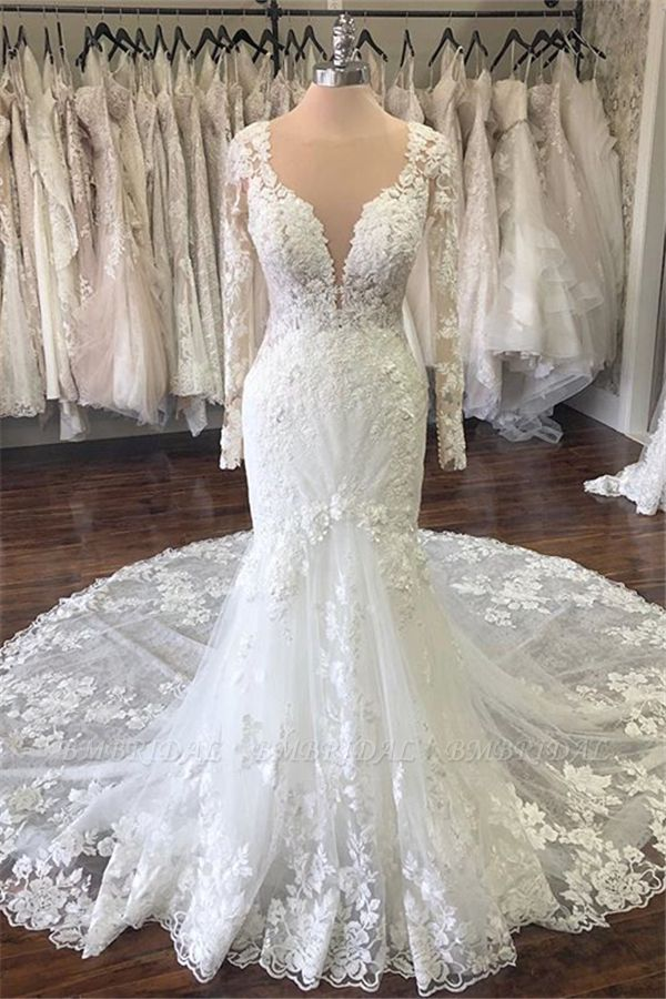BMbridal Elegant Jewel Longsleeves Mermaid Wedding Dresses Tulle Ruffles Lace Bridal Gowns With Appliques On Sale