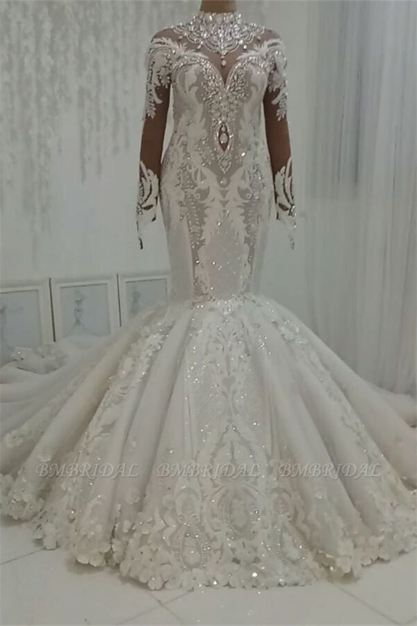 BMbridal Modest Highneck Longsleeves Lace Wedding Dresses White Mermaid Bridal Gowns With Appliques On Sale