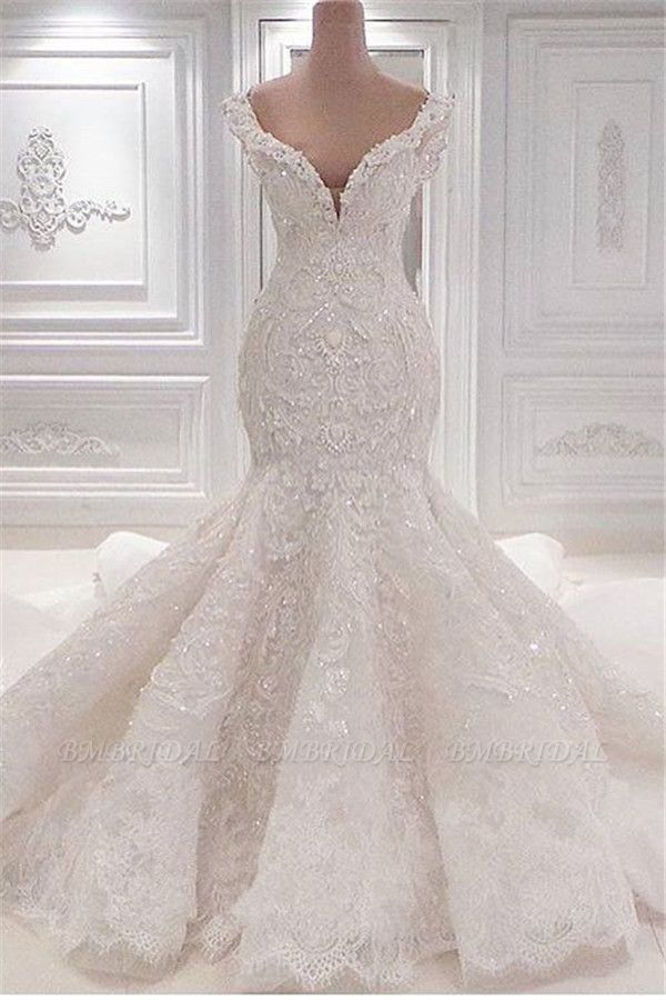 Sexy Off-the-shoulder White Lace Wedding Dresses With Appliques A-line Mermaid Bridal Gowns On Sale