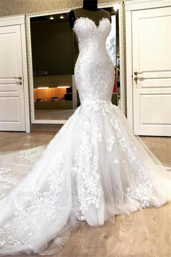 BMbridal Chic Jewel Sleeveless White Wedding Dresses With Appliques Mermaid Lace Bridal Gowns Online