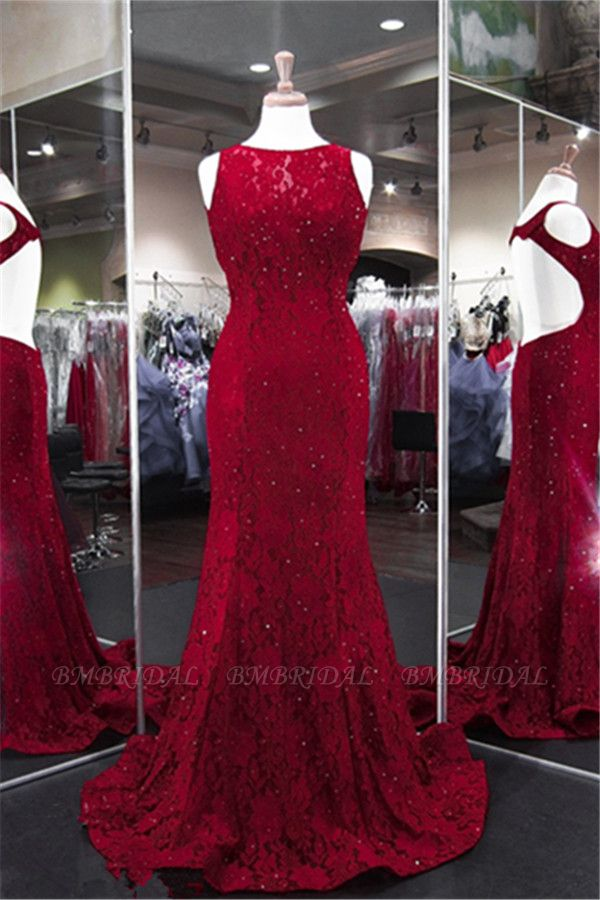 BMbridal Classic Burgundy Lace Evening Gowns Sleeveless Mermaid Prom Dress Online