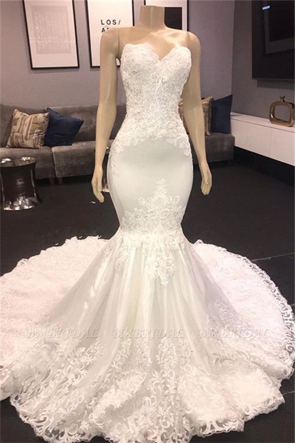 BMbridal Sexy Sweetheart Mermaid Lace Wedding Dresses With Appliques Satin Ruffles Bridal Gowns Online