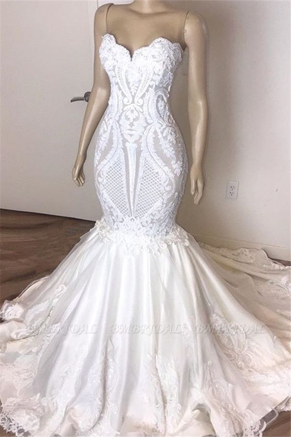 BMbridal Gorgeous Sweetheart Mermaid Lace Wedding Dresses White Ruffles Bridal Gowns With Appliques On Sale