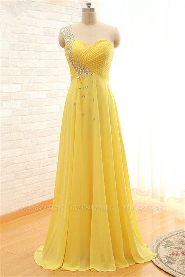 BMbridal Elegant One Shoulder Chiffon Prom Dress Long With Crystal