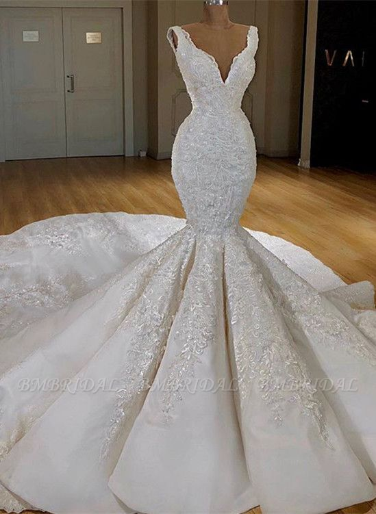Sexy White Mermaid Ruffles Wedding Dresses Straps Sleeveless V-neck Bridal Gowns With Appliques Online