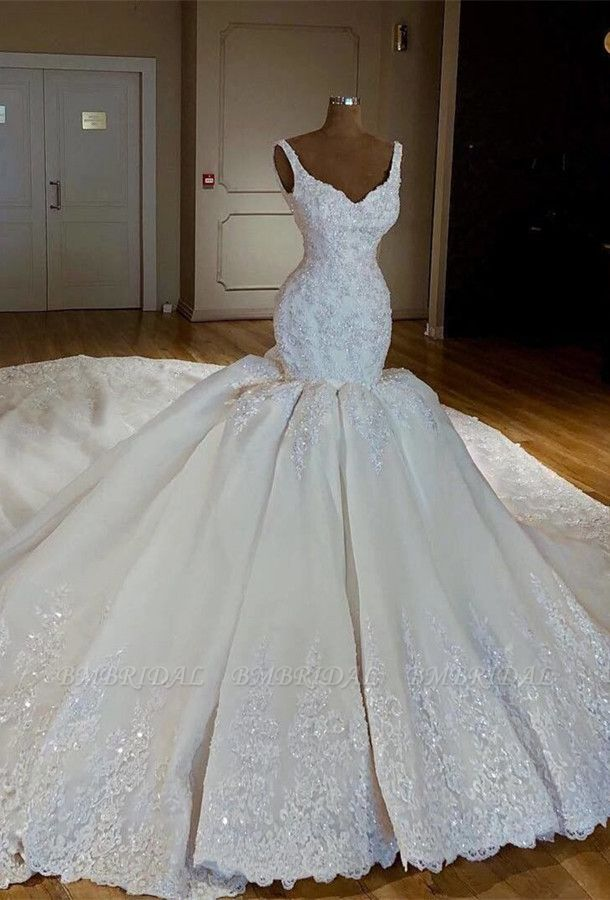 BMbridal Gorgeous Straps White Mermaid Wedding Dresses Satin Ruffles Bridal Gowns With Appliques Online