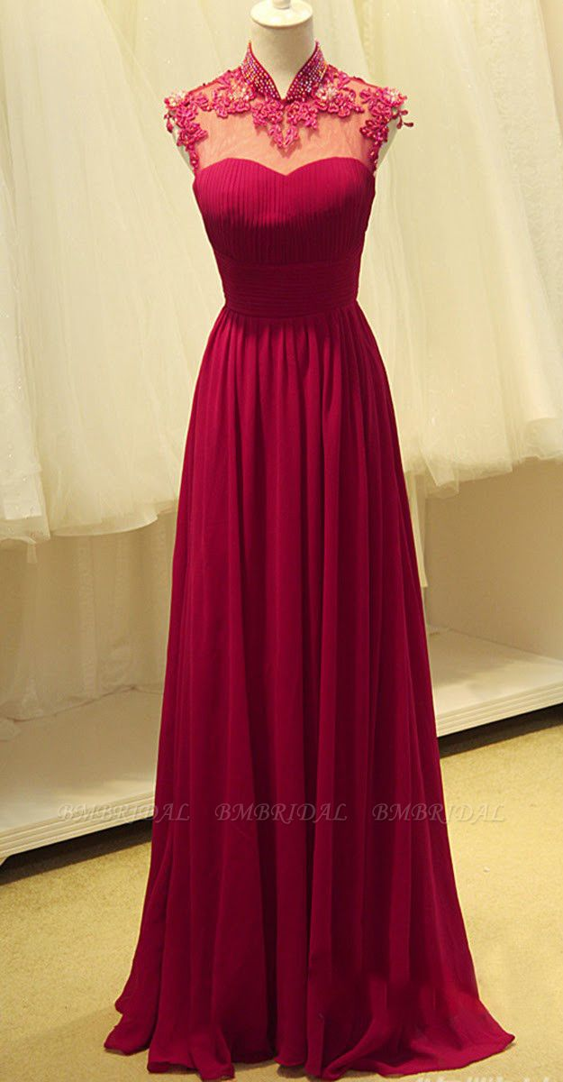 Elegant Open Back Chiffon Prom Dress Long With Lace Appliques