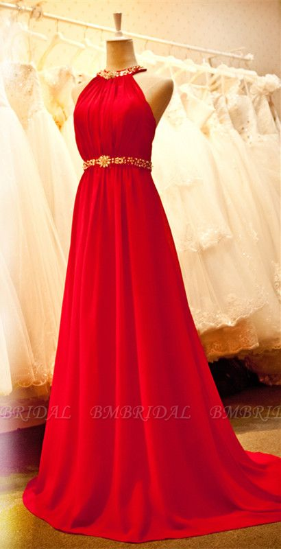 Sexy Halter Red Prom Dress Chiffon Long Evening Gowns Online