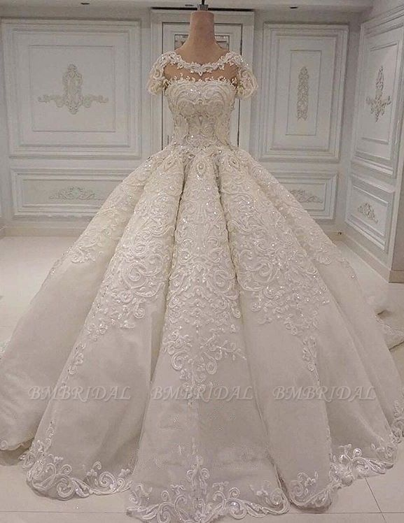 Elegant Shortsleeves Jewel A-line Wedding Dresses White Tulle Ruffles Bridal Gowns With Appliques Online