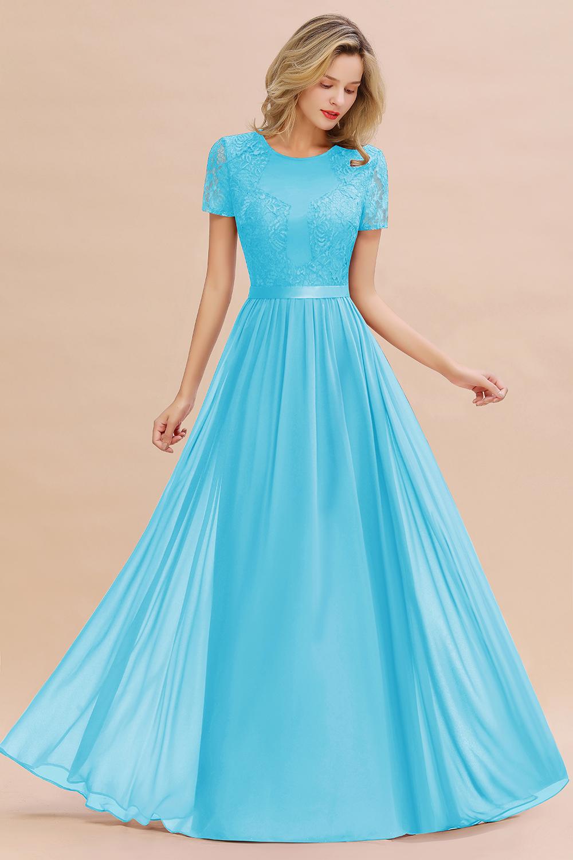 BMbridal Elegant Chiffon Lace Jewel Short-Sleeves Affordable Bridesmaid Dress