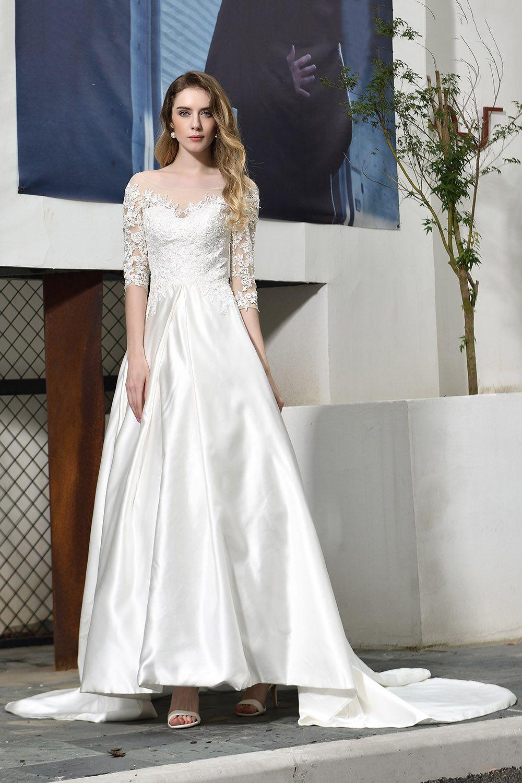 BMbridal Elegant A-Line Satin Lace 3/4 Sleeves Ankle Length Wedding Dress