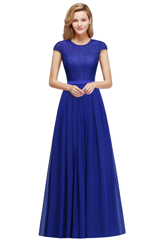 BMbridal A-line Jewel Short Sleeves Chiffon Lace Bridesmaid Dress