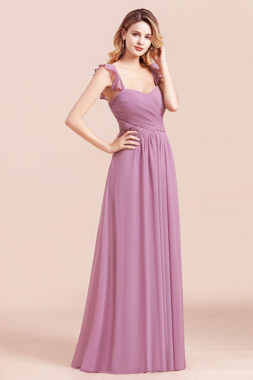 BMbridal Glamorous Sweetheart Ruffle Wisteria Chiffon Bridesmaid Dresses Affordable