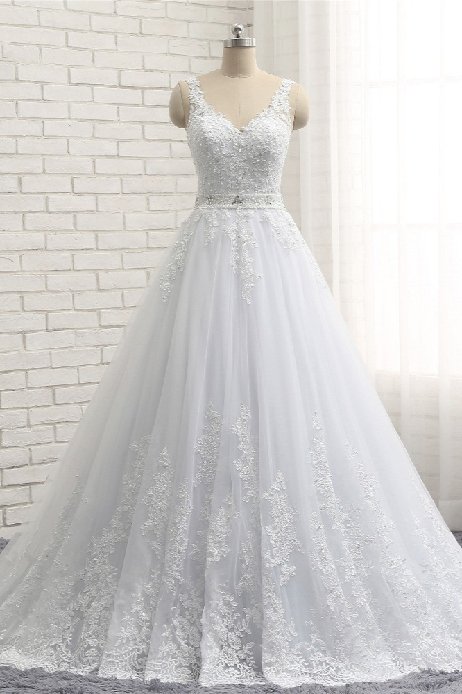 BMbridal Stunning Straps V-Neck Tulle Appliques Wedding Dress Lace Sleeveless Bridal Gowns with Beadings Online