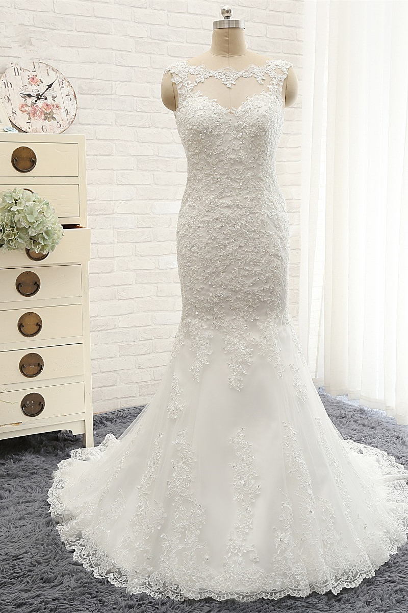 BMbridal Gorgeous Sleeveless Appliques Beadings Wedding Dress Jewel Tulle White Bridal Gowns On Sale