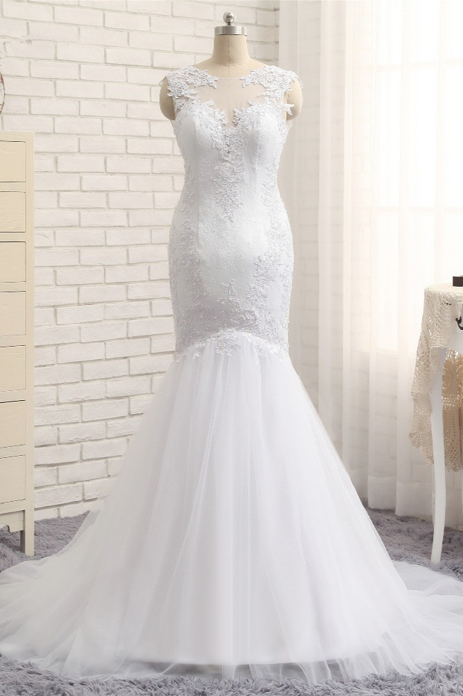 BMbridal Glamorous Jewel Tulle Appliques Wedding Dress Lace Sleeveless Mermaid Bridal Gowns Online