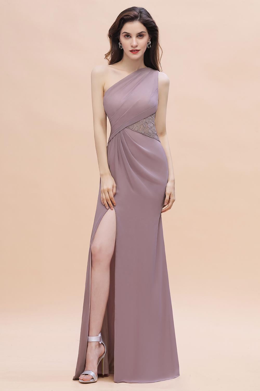 Chic One Shoulder Dusk Chiffon Lace Ruffle Bridesmaid Dress