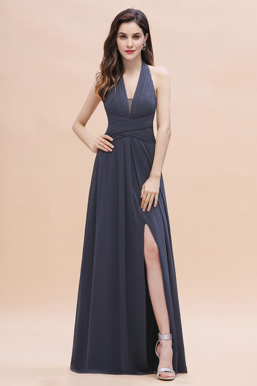 Gorgeous Halter Chiffon Ruffles Bridesmaid Dress with Front Slit