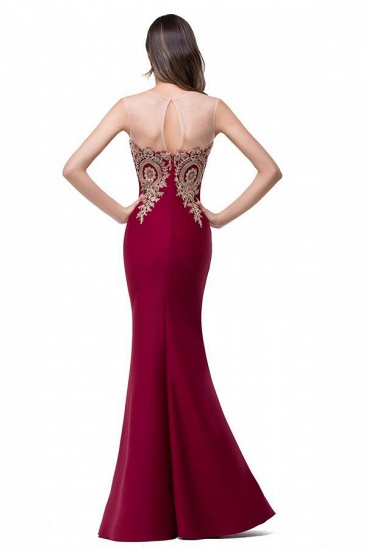 BMbridal Sleeveless Mermaid Long Evening Gowns With Lace Appliques_2