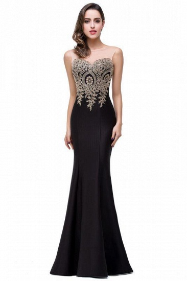 BMbridal Sleeveless Mermaid Long Evening Gowns With Lace Appliques_5
