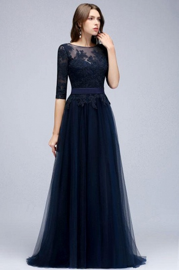 Elegant Navy Blue Half Sleeve Long Tulle Prom Dress With Lace Appliques_4