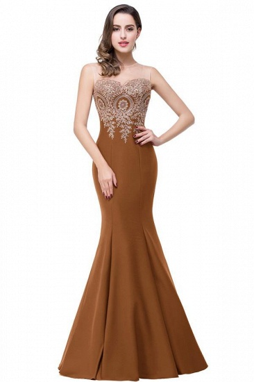 BMbridal Sleeveless Mermaid Long Evening Gowns With Lace Appliques_6