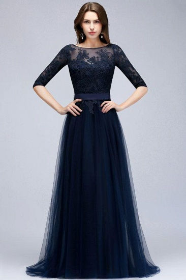 Elegant Navy Blue Half Sleeve Long Tulle Prom Dress With Lace Appliques_3