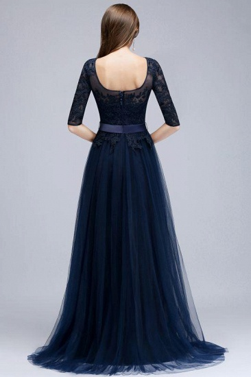 Elegant Navy Blue Half Sleeve Long Tulle Prom Dress With Lace Appliques_2