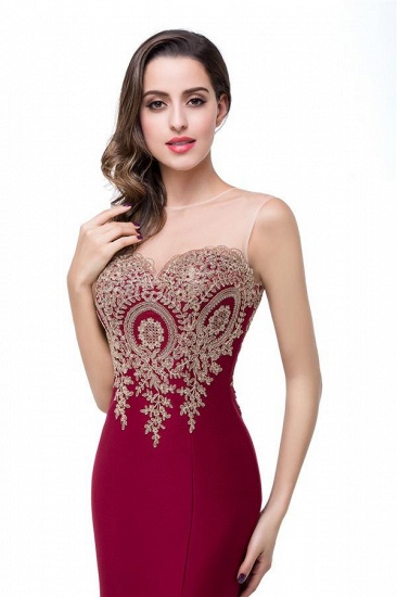 BMbridal Sleeveless Mermaid Long Evening Gowns With Lace Appliques_3